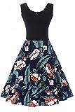 WIWIQS Damen Vintage Retro Floral Sleeveless beiläufige Partei-Behälter-Kleid groß Navy Blau