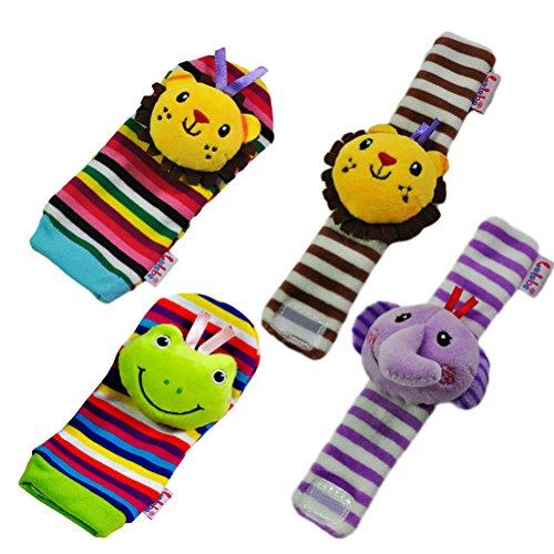 TOYMYTOY 4PCS peluche suave elefante muñecas traqueteo y el león pie pies rana buscador conjunto mejor regalo temprano desarrollo educativo juguete