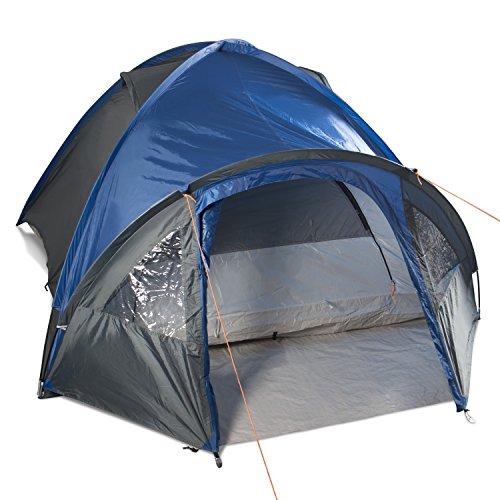 Gregster doppelwandiges Kuppelzelt / Familienzelt für bis zu 4 Personen | Einfach und schnell auszubauen durch Quick UP System | Ideal für Campingurlaube, Festivals & Wochenendtrips -  Graublau