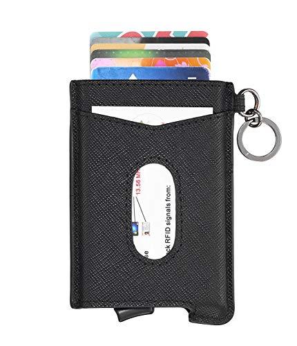 Loofeny porta carte di credito in vera pelle, portafoglio da uomo minimalista con blocco rfid - portafoglio sottile in alluminio con fermasoldi con portachiavi intelligente (nero)