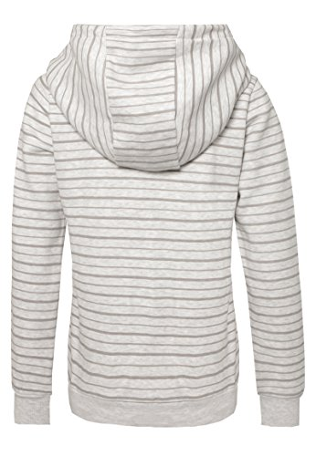 SUBLEVEL Damen Kapuzenpullover | Hoodie | Gestreifter Sweat-Pullover in Blau, Grau & Rose Grey
