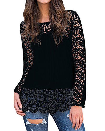 Stretch-spitzen-top (StyleDome Damen Spitze Shirt Langarm Casual Oversize Jumper Hollow Stretch Herbst Tops Pullover Schwarz S)