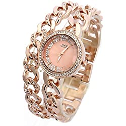 Sheli Round Analog Rose Gold Crystal Quartz Dual Links Bangle Watch Best Gift for Women, 30mm