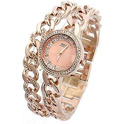 Sheli Round Analog Rose Gold Crystal Quartz Dual Links Bangle Watch Best Gift for Women, 30mm