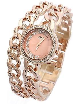 Sheli Runde Analoge Rosen Gold Quarz Doppelverbindungs Armband Geschenk Uhren für Frauen, 30mm
