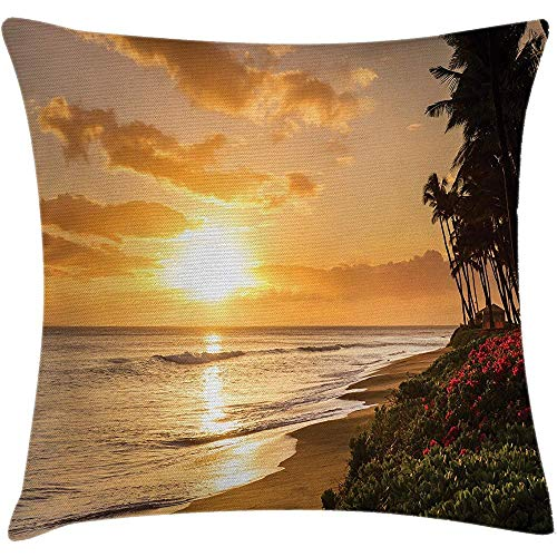 Throw Pillow Hawaiian Cushion Cover, Warm Tropical Sunset on Sands of Kaanapali Beach in Maui Hawaii Image, Decorative Square Accent Pillow Case,Green and Marigold Size:20X20 Inches/50X50Cm