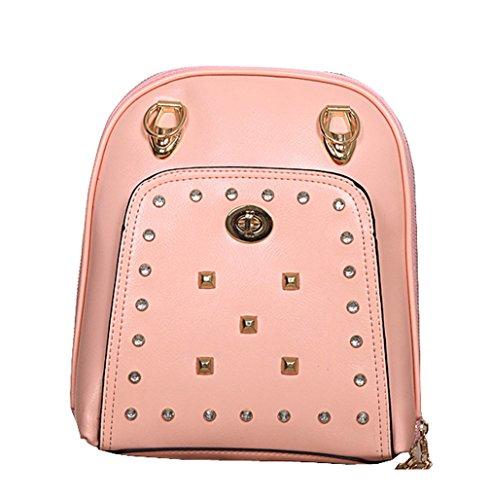 Keshi Neu Faschion Rucksäcke Damen Mädchen Schüler Lässige Canvas Rucksack Vintage Backpack Daypack Schulranzen Schulrucksack Wanderrucksack Schultasche Rucksack für Freizeit Outdoor Sport PU Pink