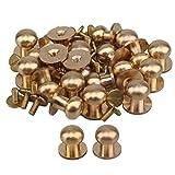 20pcs Tête ronde Bouton Laiton Clous TOOGOO Vis arrière pour cuir Craft Ceinture Porte-monnaie Sac à main DIY, doré, 12x10x12mm_