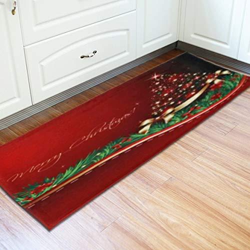 Noël à la Maison Tapis de Bain Tapis Type Long Bain Tapis de Sol Salle à Manger de Noël Tapis Confortable Home Decor (Rouge et Vert)