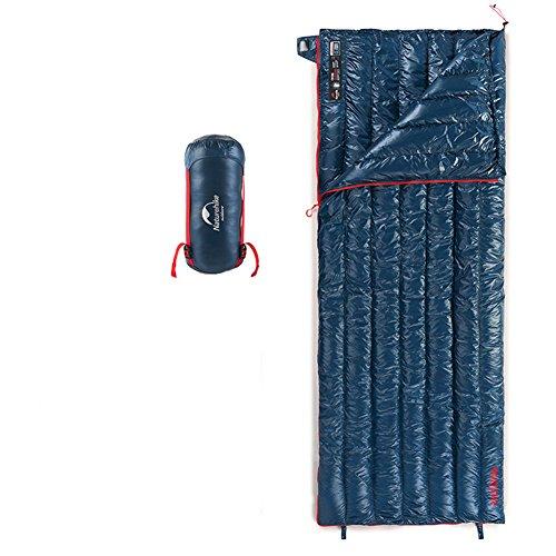 Tentock inverno super termico oca rettangolare sacco a pelo ultraleggero compressione sacco a pelo per escursioni campeggio all'aperto(blu)