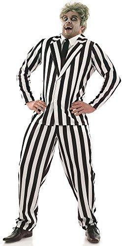 Film Kostüme Jacke (Herren Schwarz Weiß Halloween Beetlejuice Anzug Film KostüM Kleid Outfit M-XL - Schwarz/weiß, Schwarz/weiß,)