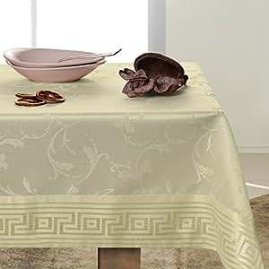 140x220 creme Tischdecke Tischtuch Weinrebe Weinrebemotiv gestickt elegant praktisch pflegeleicht mit Borte fleckgeschützt Modern Ares