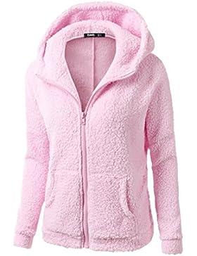 Culater Suéter con capucha de las mujeres Abrigo de algodón Outwear Chaqueta de la cremallera caliente