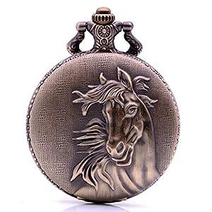 Herren-Quarz-Taschenuhr mit analogem Anhänger in Form Eines Pferdes und Einhorn, Antikes Geschenk