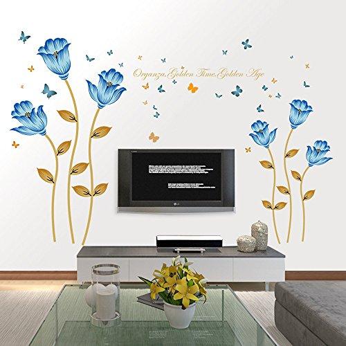 Saingace Wandaufkleber Wandtattoo Wandsticker,Blaue Blumen 3D-Wand-Aufkleber Romantik Dekoration...