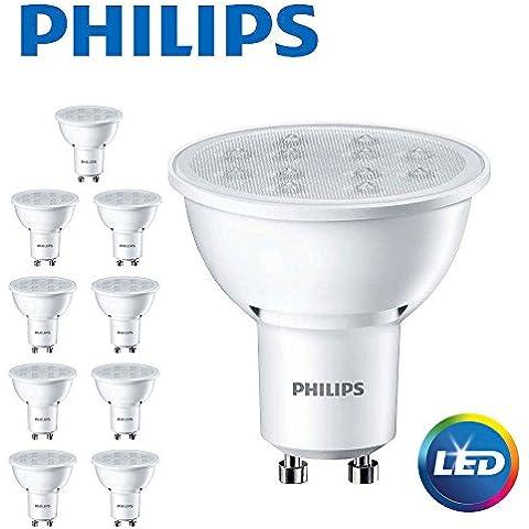 (10 PK) Philips CorePro-Lote de 10focos LED (GU10, 5W = 50W (2700K), extra blanco cálido-elegir cantidad del paquete, 350 Lumens [Clase de eficiencia energética A+]