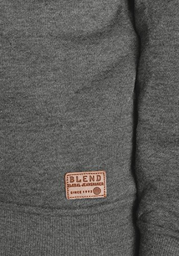 BLEND Tedder Herren Sweatshirt Pullover Sweater mit Teddy-Futter aus hochwertiger Baumwollmischung Pewter Mix (70817)