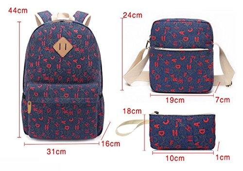 3er-Pack Ethnische Mode-Taschen Mädchen Rucksack Schüler Schultasche #3