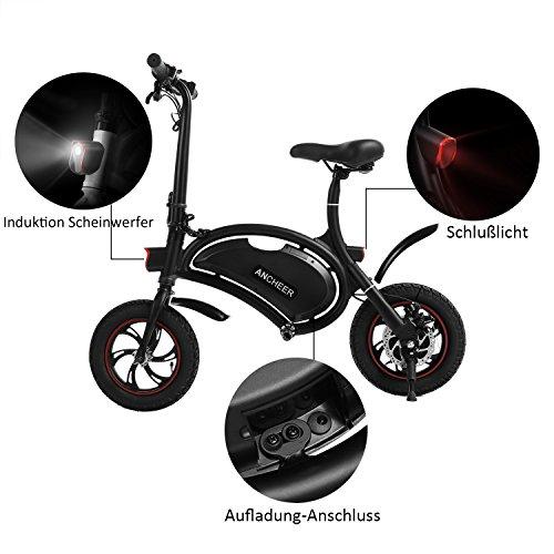 Ancheer E-Scooter Faltbar, Elektroroller Pedelec, Höchstgeschwindigkeit bis 25 km/h, 36V 4.4AH LG Zelle Batterie, 250W Hochgeschwindigkeit-Bürstenlose Heckmotor, intelligente App-Funktion Schwarz - 5