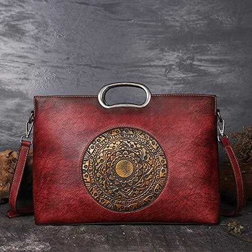Pamabag Echtes Leder Damen Tasche,Vintage Red Leder Damen Handtasche Umhängetasche Classic Totem Geprägte Große Kapazität Tote Bag Mode Elegante Schulter Kuriertasche (Geprägte Gefüttert Tote)