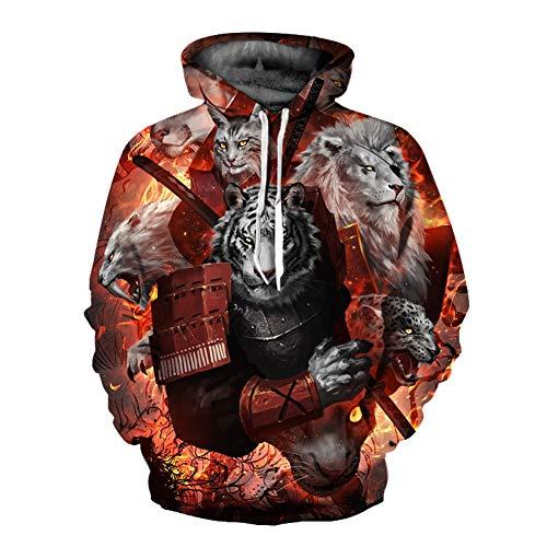 Unisex Winter 3D-Mode-Persönlichkeit Pullover Hoodie, lässiges leichtes Sweatshirt und Tasche S-XXL,663,XL