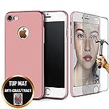 [Pack 2] Coque Compatible avec iPhone 6s / 6 (4,7') Protection Ultime Renforcee Anti-Choc, Silicone Mat Rose + Film Protection d'écran Verre Trempé