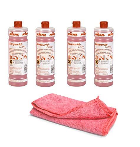 Sanitärreiniger - Kalklöser - WC Entkalker - Urinsteinlöser | mit Profi Microfasertuch rot (4 Flaschen=4 Liter)