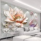 LONGYUCHEN Benutzerdefinierte 3D Seide Wandbild Tapete Geprägtes Muster Lotus Fisch Geeignet Für Schlafzimmer Wohnzimmer Sofa Tv Hintergrund Wand Dekoration Wandbild,60Cm(H)×120Cm(W)
