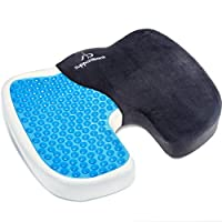 Supportiback® Comfort Therapy Orthopedic Gel Seating Cushion — Ergonomic Memory Foam Coccyx Cushion for Lower Back, Tailbone and Sciatica Relief — Portable Seat Pad for Office, Home, Car, Wheelchair