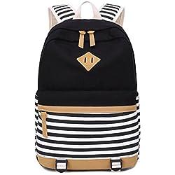 Escuela Mochila Canvas Backpack Casual Set Mochilas / Rucksack + Bolso del mensajero + Monedero (Rayas negras)
