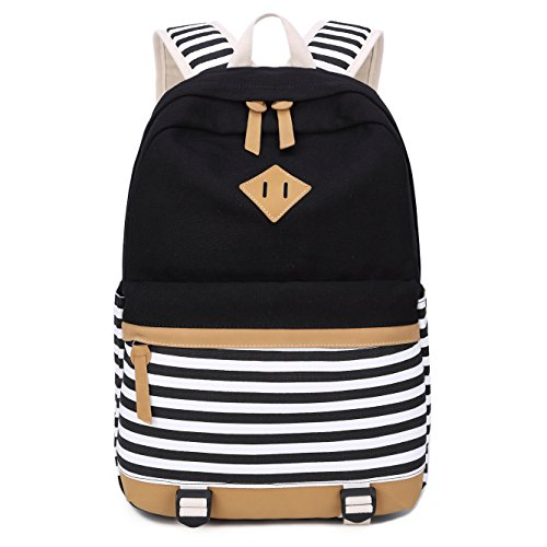 b2d903e041 Zaino Casual Scuola Set 3pcs Daypacks/Canvas Backpack Tela Zaini  Ragazza/Donna+ Messenger Bag + Purse (Nero-02)