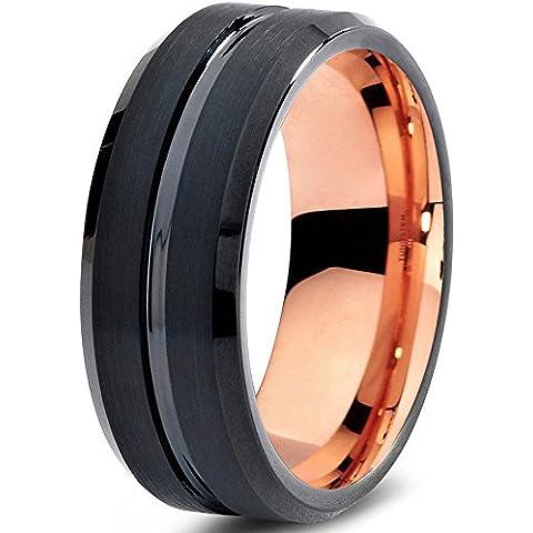Tungsten Wedding Band Ring 8mm for Men Women Black & 18K Rose Gold Beveled Edge Brushed Polished Lifetime