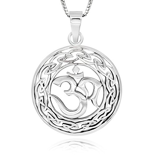 """925plata esterlina, diseño celta colgante de Yoga Om Aum Ohm símbolo collar 18"""""""