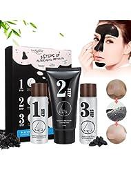 Masque Point Noir, LuckyFine, Blackhead Step Kit, Peel off Masque, Masque Noir, Peau Nettoyage, Anti-Point Masque, Black Head Masque, Blackhead Remover Masque, nettoyant en profondeur