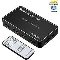 Aibocn HDMI Switch,Conmutador HDMI Switch 4 Entrada a 1 Salida Soporta 4K 3D y 1080P Adaptador para TV, BLU-Ray, Cable Box, PS3 PS4,Color Negro