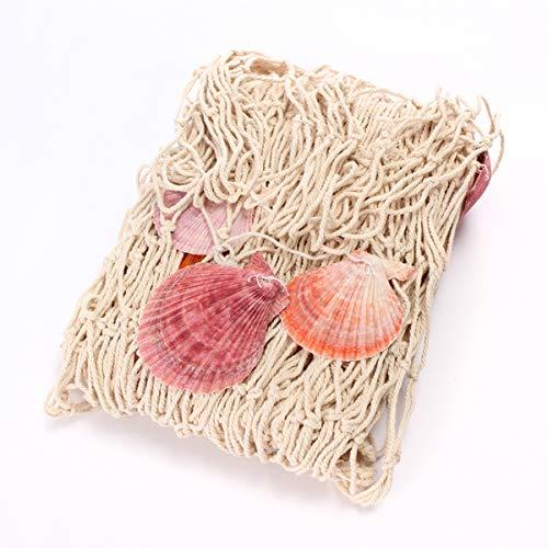 EgBert Dekoratives Fischnetz Im Mediterranen Stil Mit Muscheln Blau Weiß - Weiß -
