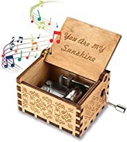 Womdee Music Box -You Are My Sunshine Theme To Girlfriend, Wooden Classic Music Box Crafts With Hand Crank Ant
