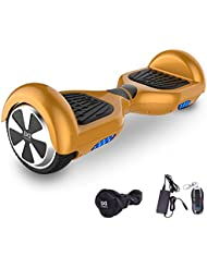 Cool&Fun Hoverboard 6,5 pouces Smart Scooter Skateboard Électrique Gyropode 2x350W (Or) …