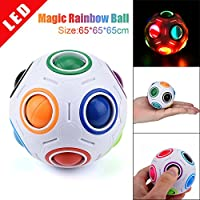 LED Puzzle Ball,Baokee® New LED Light Stress Reliever Rainbow Magic Ball Night Cube Twist Puzzle Toys