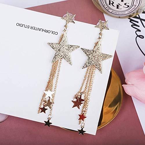HUGJOU Ohrring Neuheiten Hot Fashion Brincos Pentagramm Star Metallkette Lange Aussage Quaste Ohrringe Für Frauen Schmuck