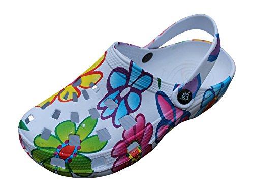 Gartenschuhe Damen superleicht Hausschuhe Fashion Clogs Schlappen Badeschuhe Gummi Gartenclogs Clocks (39, Bunt (Sommer)) Bunte Gummi