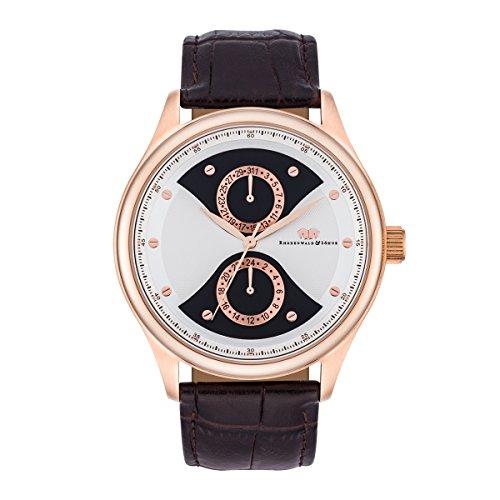 Rhodenwald & Söhne Montre bracelet Calador Homme Multifonctions Quartz Bicolore bracelet cuir véritable Etanchéité 5 ATM 10010275