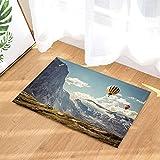 Mongolfiera bianca blu della nuvola del cielo della montagna della neve dell'altopiano della decorazione dell'altopiano Tappeto bagno antiscivolo tappetino per soggiorno accessori per il bagno40x60cm