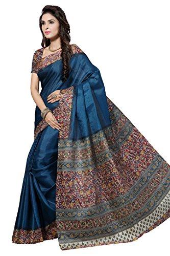Rani Saahiba KalamKari Printed Bhagalpuri Art Silk Saree(Blue_SKR1917)