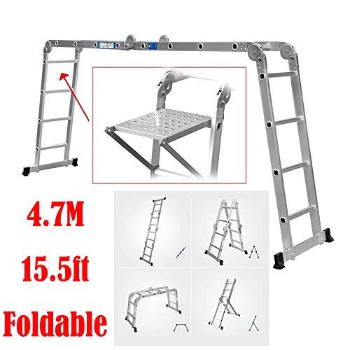 Escalera de aluminio de 4,7 m, se puede transformar en andamios/escalera en forma de A/escalera, carga máxima 330 libras, con 1 bandeja de herramientas gratis