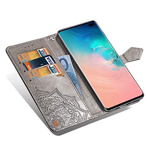 Mking Tech Custodia per Cellulare per Samsung Galaxy S10 Plus/S10+. Flip/Porta Carte di Credito/Portafoglio/Chiusura Magnetica Automatica/Anti-Goccia/Guscio di Telefono in Rilievo.