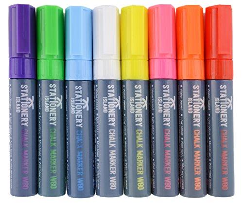 # Stationery Island Pennarelli a Gesso Liquido W80 Punta Larga 8mm Cancellabili con Acqua, Confezione da 8 Colori recensioni dei consumatori