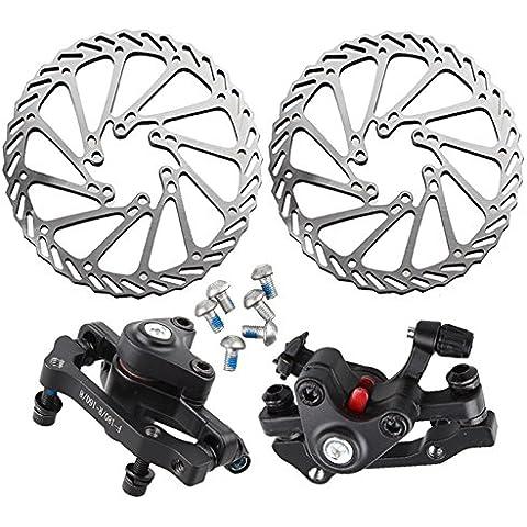 BAAKYEEK - Disco per freni della bicicletta In acciaio inox, set per freno a disco con rotore e clipper della ruota posteriore F:180/ R:160  ruota anteriore  F:160