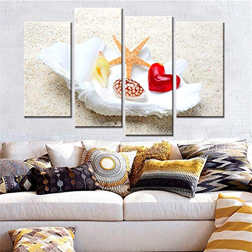 zysymx Decoration Posters Frame Living Room HD Printed Painting 4 Panel Beach Sea Shells Starfish Modern Abstract Wall Art Picture Home