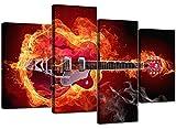 Kit de toile Motif: Guitare ardente, XL, 130cm, lot de 4